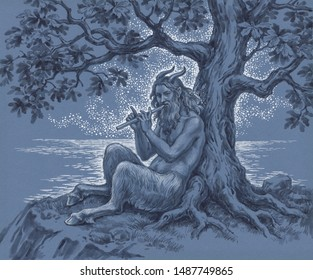 Hand drawn  illustration, the ancient Greek mythological  Faun playing the flute on the seashore.