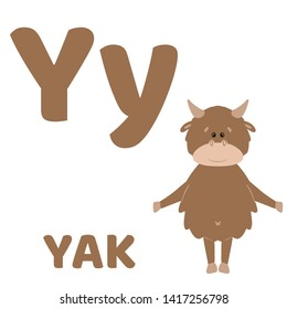 Hand drawn illustration. Baby alphabet with cute animals: yak, numbat, vulture, wolf. Isolated objects.  For children's books and development children's cards and posters.