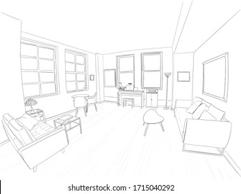 Hand drawn illustration. A beautiful living room in a modern home, with large windows, hardwood floors, and cool furniture. Black and white.