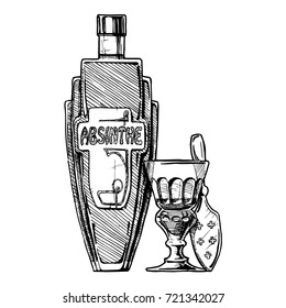 hand drawn illustration of bottle of Absinthe with absinthiana in ink hand drawn style. isolated on white.