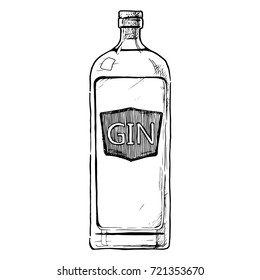 hand drawn illustration of bottle of Gin in ink hand drawn style. isolated on white.