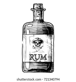 hand drawn illustration of bottle of rum in ink hand drawn style. isolated on white.