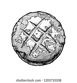 Hand drawn Illustration of boule bread in vintage engraved style. Isolated on white. Top view