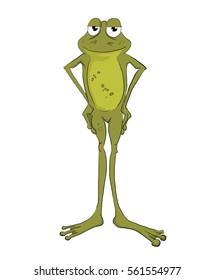 Hand drawn illustration of a cartoon frog