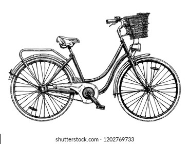 Hand drawn illustration of city bicycle in ink hand drawn style. Bike with step-through frame, pannier rack and front wicker basket.