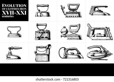 hand drawn illustration of clothes iron evolution set. XVII-XXI centuries. Side view.