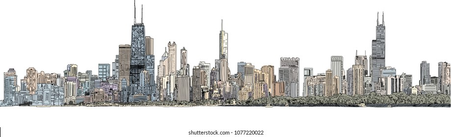 Hand drawn illustration. Color panorama of the Chicago skyline. Detailed ink look and feel.