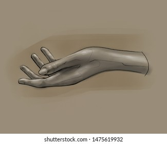 Hand drawn illustration or drawing of a human woman hand