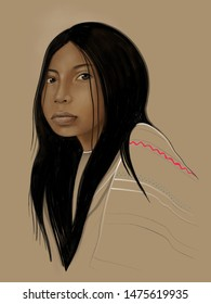 Hand drawn illustration or drawing of an indigenous girl portrait