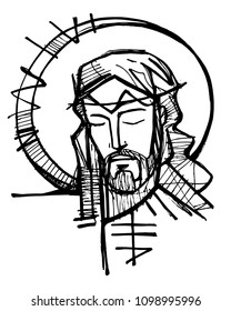 Hand drawn illustration or drawing of Jesus Christ Face at his Passion