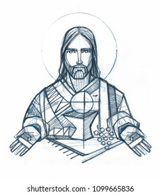 Hand drawn illustration or drawing of Jesus Christ an Eucharist symbols
