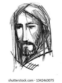 Hand drawn illustration or drawing of Jesus Christ Face
