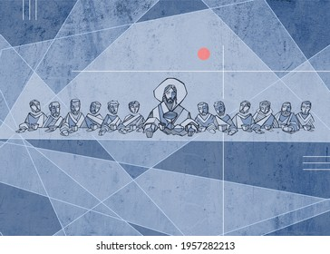 Hand drawn illustration or drawing of Jesus Christ with disciples at Last Supper