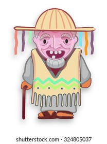 Hand drawn illustration or drawing of an old man cultural traditional mexican character