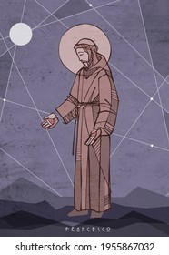 Hand drawn illustration or drawing of Saint Francis of Asis and a name in italian that means: Francis