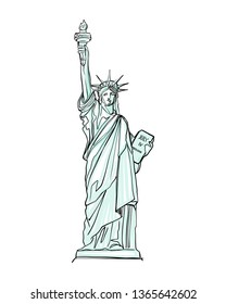 Hand drawn illustration or drawing of the Statue of Liberty