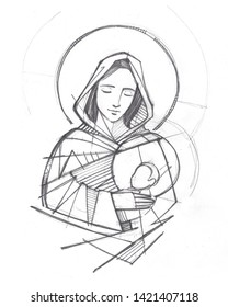 Hand drawn illustration or drawing of Virgin Mary and baby Jesus