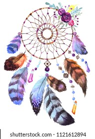 Hand drawn illustration of dreamcatcher.Ethnic illustration with Native American Indian watercolor dreamcatcher.Boho style.Template card.Perfect for greeting cards,print,diy projects,blogs,thanks card