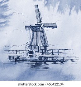 Hand drawn illustration of a dutch windmill on a blue watercolor background