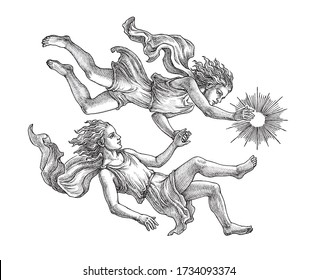 Hand drawn  illustration in the engraving style, Gemini twins, zodiac sign on white.
