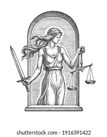 Hand drawn illustration in the engraving style, the goddess of justice Themis with a sword and libra.