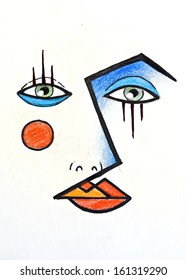 hand drawn illustration of a face wearing dramatic makeup look, inspired by the cubist paintings