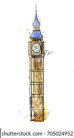 Hand drawn illustration with famous british symbol in London - Big Ben. Watercolor sketchy painting with artistic splashes and drips. Element isolated on white background.