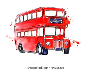Hand drawn illustration with famous London symbol - red double decker bus. Watercolor and ink sketch with splashes and blots. Black outline and bright colorful stains isolated on white background