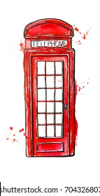 Hand drawn illustration with famous London symbol - red telephone box. Watercolor and ink sketch with splashes and blots. Black outline and bright colorful stains isolated on white background