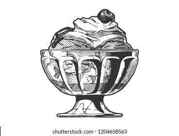 Hand drawn illustration of Ice Cream served in glass bowl. In vintage engraved style. Isolated on white background.
