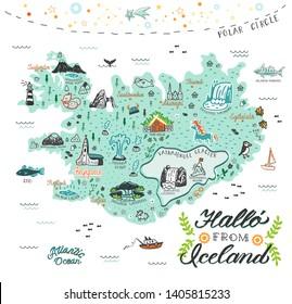 Hand drawn illustration of Iceland map with tourist attractions. Travel  concept. Hallo (icelandic language) -  Hello.