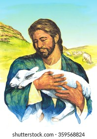 Hand drawn illustration of Jesus, the shepherd and sheep