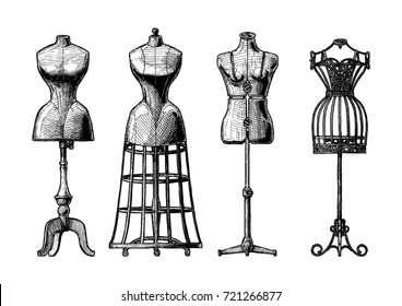 hand drawn illustration of mannequins set in vintage engraved style. Old fashion dummy, dress-stand with bustle, adjustable dress form, frame mannequin. isolated on white background. front view.
