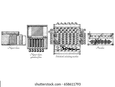 hand drawn illustration of mechanical calculators history. XVII Century. Napieras bones and cylindrical form calculating tables, Schickards calculating machine, Pascaline.