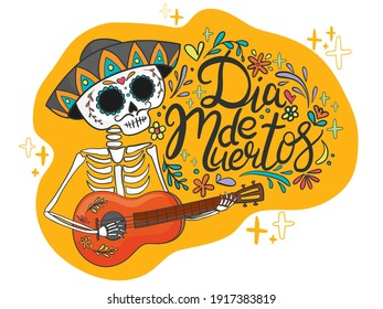 """hand drawn illustration of Mexican holiday """"Day of the Dead"""". The postcard with lettering """"Dia de Muertos"""""""