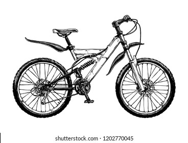 Hand drawn illustration of mountain bike in ink hand drawn style. Full suspension bicycle with unified rear triangle.