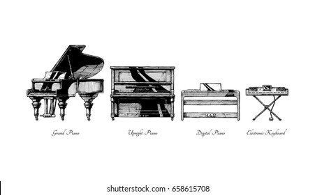 hand drawn illustration of piano types. Grand, Upright (vertical), digital pianos and electronic keyboard. Isolated on white background.