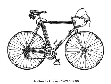 Hand drawn illustration of racing bicycle in ink hand drawn style.