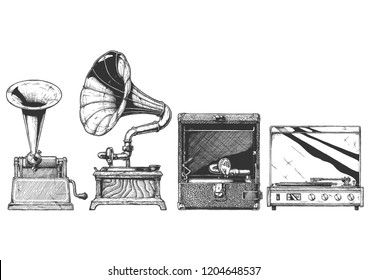 Hand drawn illustration of record player evolution set in vintage engraved style. Cylinder phonograph, gramophone, portable wind-up and turntable.