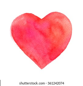 Hand drawn Illustration of red watercolor heart.