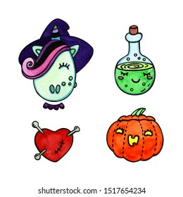 Hand drawn illustration set of witch unicorn, red heart pierced with pins, bottle with potion and jack o lantern pumpkin. Clipart elements for Halloween holiday design