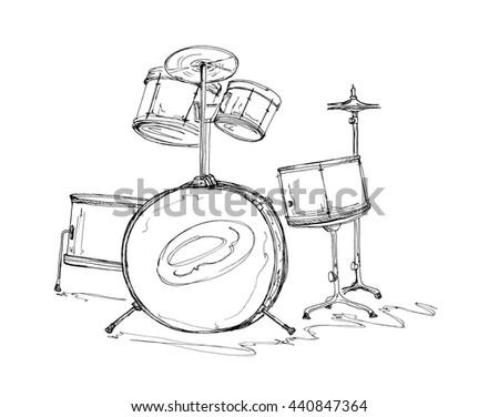 Hand Drawn Illustration Sketch Drum Setkit Stock Illustration
