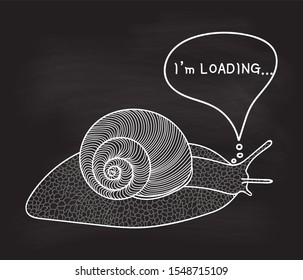 "Hand drawn illustration with snail and the text ""Loading"", raster version"