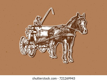 hand drawn illustration of spider phaeton. Open sporty carriage drawn by one horse.
