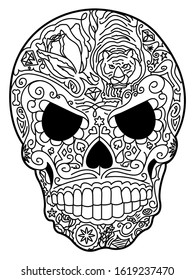 A hand drawn illustration of a sugar skull in black and white with ornate details.