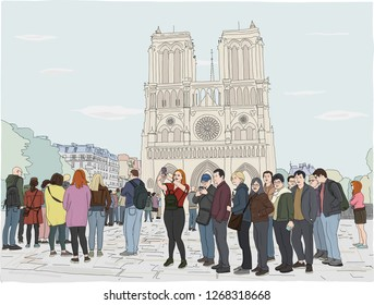 Hand drawn illustration. Tourists in Paris enjoy the day, waiting in line in front of the famous Notre Dame Cathedral.