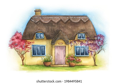 Hand drawn illustration of traditional English village house isolated on white background. Watercolor cozy house with thatched roof, plants and sky