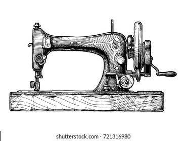 hand drawn illustration of the vintage sewing machine. isolated on white background. Side view.