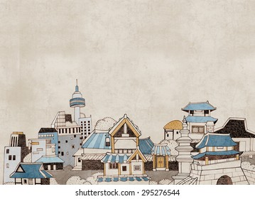 Hand drawn illustration in vintage style featuring the modern and old section of a city. Korean traditional houses called Han-ok and modern building. Painted in watercolor and with texture.
