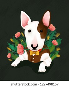 Hand drawn illustration of a Wang Xing human bull terrier with a bow tie biting a flower in the flowers